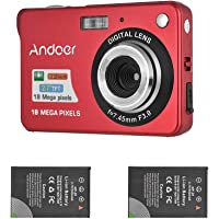Andoer Digital Camera with 2pcs Rechargeable Batteries 720P HD 8X Digital Zoom Anti-shake 2.7inch LCD Screen for Kids Children Holiday