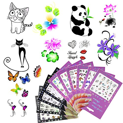 ail Art Stickers Decals Flower DIY Water Transfer Nail Sticker Foil Adhesive Nails Beauty Accessories(10 Pack Style 3) ()