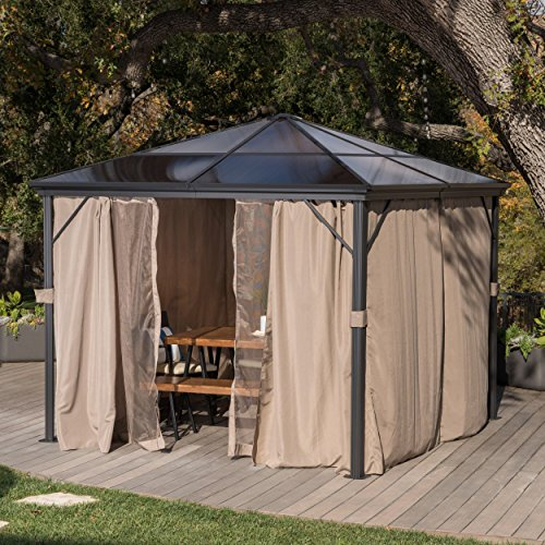 Great Deal Furniture Bali Outdoor 10 x 10 Foot Black Rust Proof Aluminum Framed Hardtop Gazebo with Brown Curtains