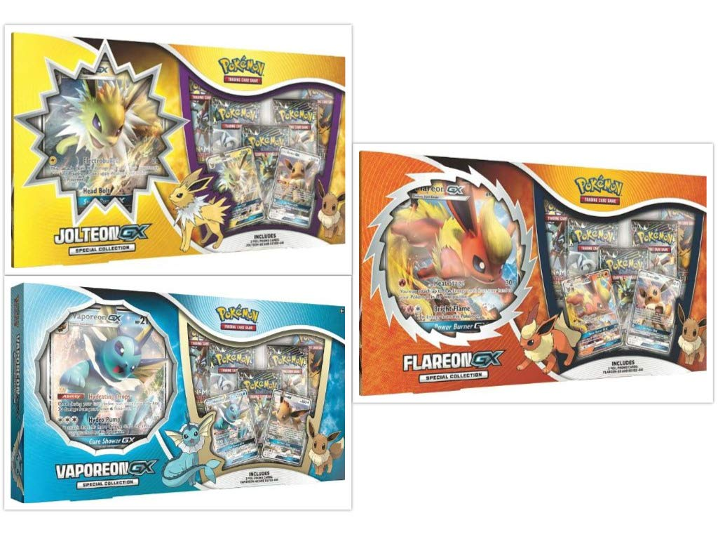 Pokémon TCG Jolteon GX, Flareon GX, and Vaporeon GX Box Special Collection Bundle, 1 of Each