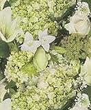 885507 - Tiles More Green white flowers wallpaper by Rasch