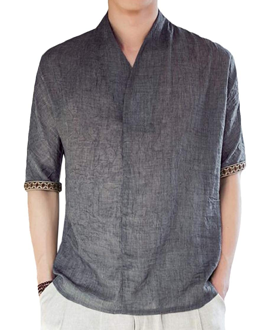YYear Men Summer Frog-Button Linen Plus Size Relaxed Fit Solid Color T-Shirt Tee