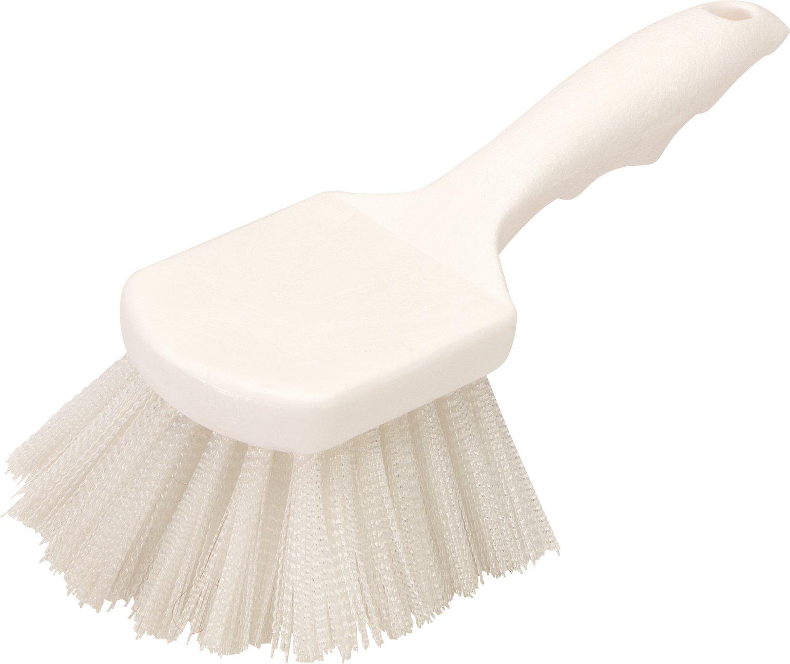 Carlisle 3662000 Flo-Pac Plastic Handle Utility Scrub Brush, Nylon Bristles, 2'' Bristle Trim, 8'' Length, White (Pack of 12)
