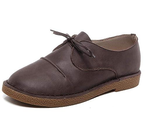 Zapatos de Mujer Mocasines Literario Retro Tacón Plano Mano con Cordones Mary Jane Zapatos: Amazon.es: Zapatos y complementos