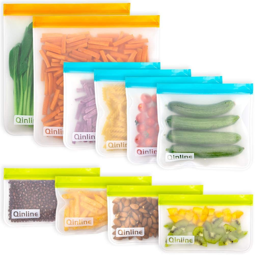 Reusable Food Storage Bags - 10 Pack BPA FREE Flat Freezer Bags(2 Reusable Gallon Bags + 4 Leakproof Reusable Sandwich Bags + 4 Food Grade Kids Snack Bags) Resealable Lunch Bag for Meat Fruit Veggies