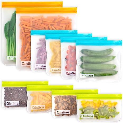 Amazon.com: Reusable Food Storage Bags - 10 Pack BPA FREE Flat Freezer Bags(2 Reusable Gallon Bags + 4 Leakproof Reusable Sandwich Bags + 4 Food Grade Kids Snack Bags) Resealable Lunch Bag