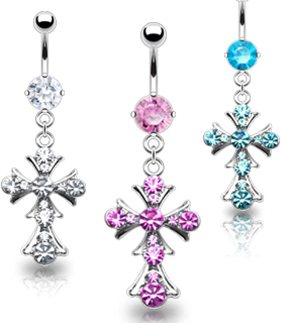 Dynamique Gem Paved Cross Dangle 316L Surgical Steel Belly Button Ring
