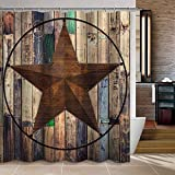 "Uphome Barn Star Fabric Shower Curtain, Western Texas Star on Rustic Brown Wooden Grain Cloth Shower Curtain for Bathroom Showers Bathtub (60"" W x 72"" H)"
