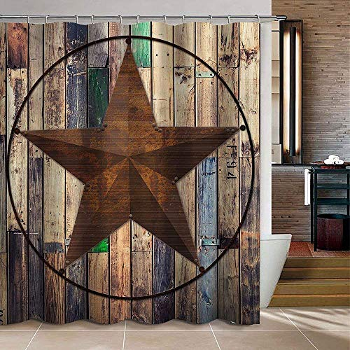 (Uphome Rustic Vintage Shower Curtain, Custom Brown Star on Wooden Fabric Stall Shower Curtains Set with Hooks Waterproof Mildew Resistent Bathoom Polyester Decor Designer (72