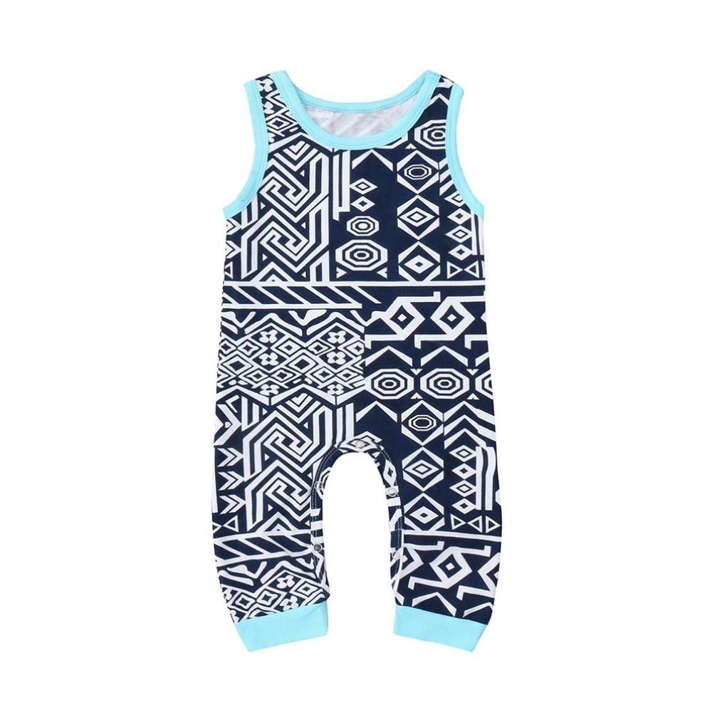 KaiCran Unisex Summer Romper Infant Boys Girls Cotton Sleeveless Romper with Totem Pattern Print