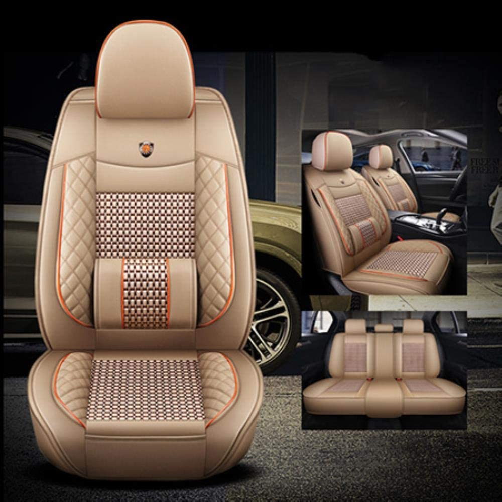 LUOLONG Car Seat Cover,Leather/&ice silk 5 seats car seat covers For peugeot 206 407 508 308 301 3008 2017 205 106 307 207 car accessories seat covers,Beige No polliw