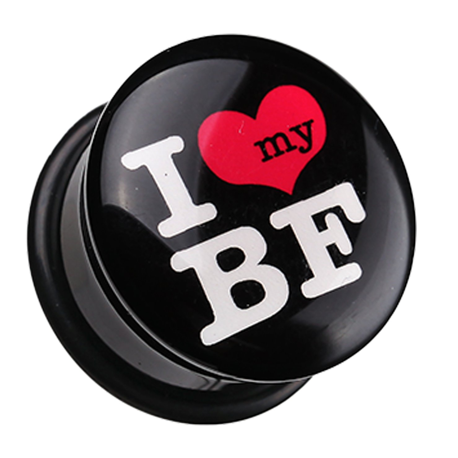 I Heart my BF Single Flared Ear Gauge Plug Sold as a Pair