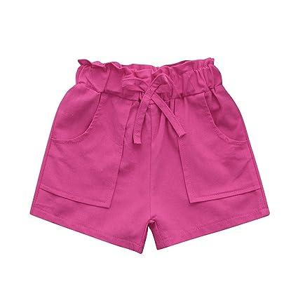 feiXIANG Ropa de Verano para niños niña bebé niña Color sólido Pajarita Cuerda Pantalones Cortos Pantalones