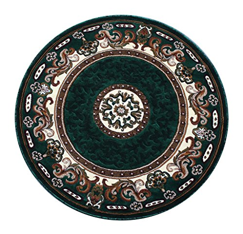 Hunter Green Area Rug - Masada Traditional Floral Round Area Rug Hunter Green (5 Feet X 5 Feet) Round