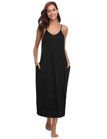 Aibrou Women s Cotton V Neck Long Nightgown Sleeveless Full Slip Night Dress  Black 0bdb55d3b