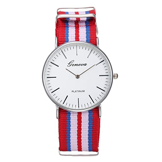 Geneva - Reloj correa de nylon rayas rojo