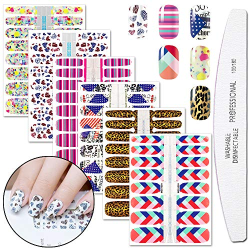 WOKOTO 6 Sheets Self-Adhesive Nail Art Polish Sticker Strips With 1Pc Nail File Mosaic Manicure Wraps Decals Tips For Women