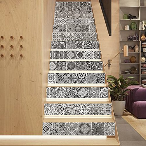 (MISSSIXTY 13PCS/Set 3D Black and White Vintage Self-Adhesive Stair Risers Stickers Vinyl Staircase Stickers Wallpaper Home Decor 39.3 Inch x7.08 Inch)