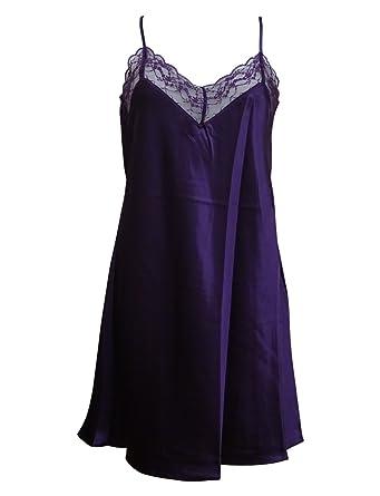 75aee7dec35a4 Marlon Ladies Charmeuse Liquid Satin Lace V- Neck Chemise Slip Nightie Purple  Sizes  10-18 (16)  Amazon.co.uk  Clothing