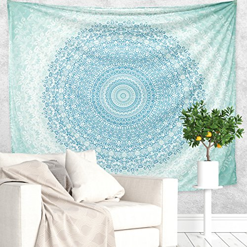 (Unime Wall Tapestry, Unime Mandala Tapestry Tapestry Wall Decor, Decorative Wall Hanging Tapestry, Wall Art Gypsy Tapestry, 60 X 52 inches (Aqua Mandala))