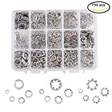 INCREWAY 750pcs 5 Sizes Stainless Steel Spring and Star Washer Assortment Set (M3 M4 M5 M6 M8)
