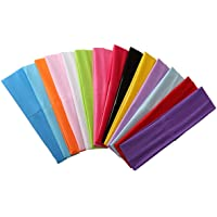 Zapire 14pcs Mixed Colors Yoga Sports Headbands for Women - Soft Elastic Stretch Girls Athletic Headbands