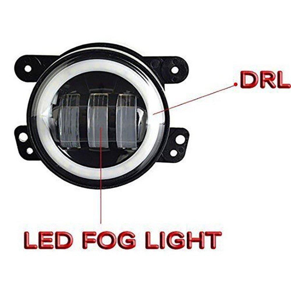 Bernstein Blinker Schwarz Lzcat 4 zoll 60W 6000LM LED Nebelscheinwerfer Lampen 2 st/ücke Kit mit Halo Wei/ß DRL