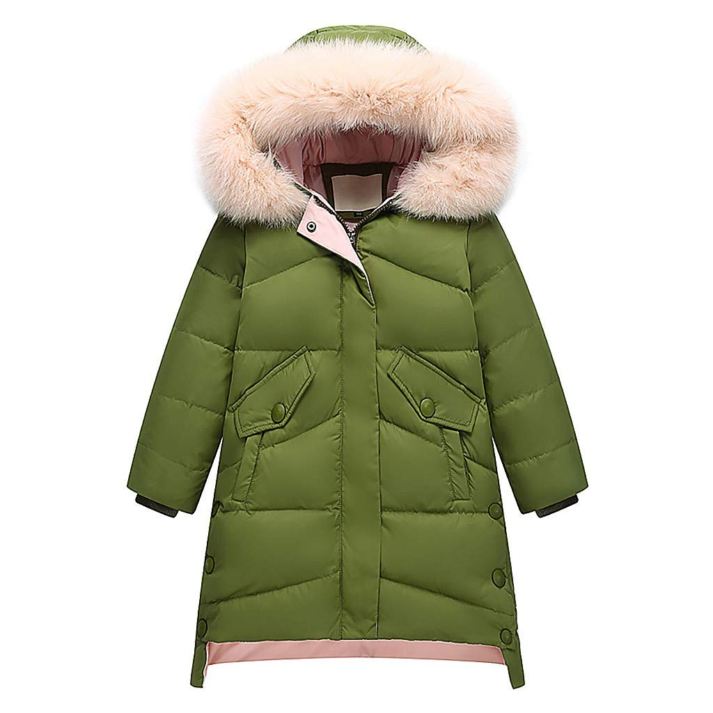 Gallity Winter Warm Down Coat Thick Padded Jacket Girl's Long Snowsuit Hooded Windbreaker Overcoat Parka with Soft Faux Fur Hood for 4-12 Years Old - White Duck Down is 81%~85% (11-12 Years, Green) by Gallity Baby Coat