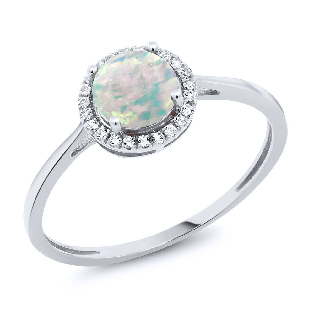 10K White Gold Diamond Ring with 0.48 Ct Cabochon White Simulated Opal by Gem Stone King