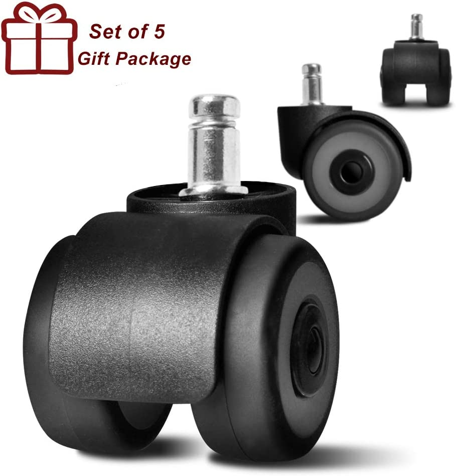 """Anyke 2"""" Office Chair Casters Heavy Duty Swivel Replacement Rubber Roller Wheels with 4 Bearings Set of 5"""