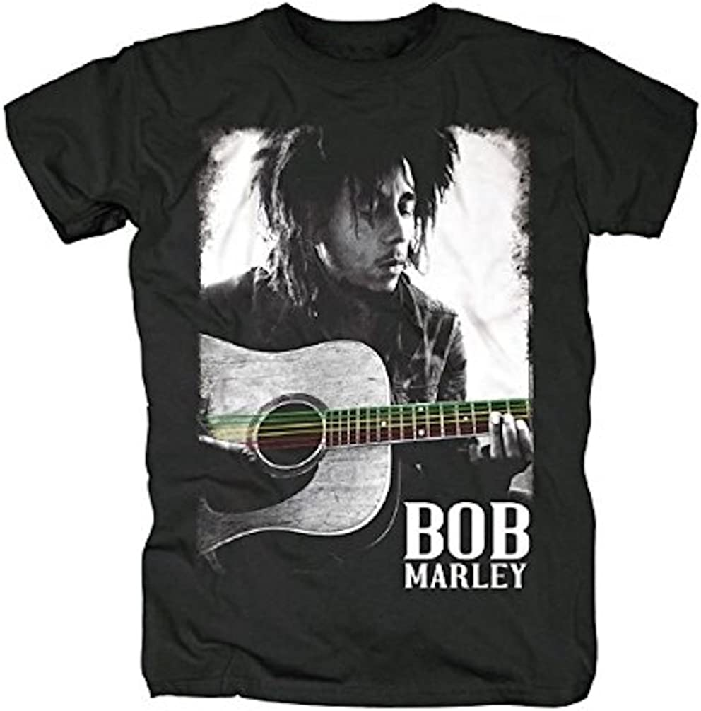BOB MARLEY - Guitarra Cuerdas - Camiseta Oficial Hombre - Negro ...