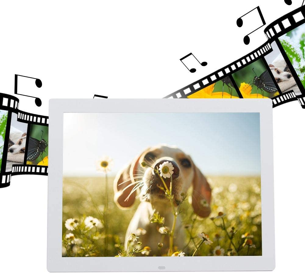 US-White Neufday 15 Inch Widescreen Digital Photo Frame Digital Picture Frame with Remote Controller and 32GB Online Storage,