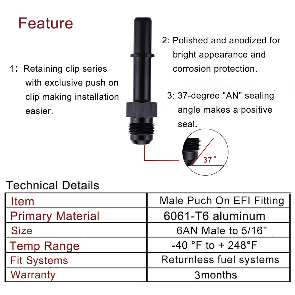 EVIL ENERGY 6AN Male To 5//16SAE Quick Disconnect Male Push On EFI Fitting Adapter Aluminum for Inline Fuel Filter Pump