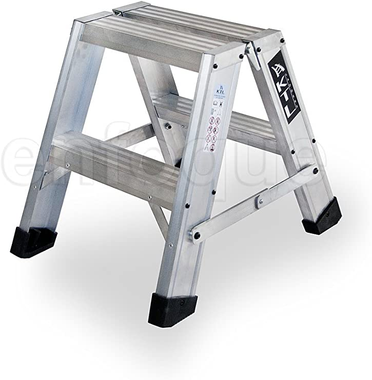Taburete-escalera industrial de aluminio doble acceso 2 x 2 peldaños serie stool new comfort: Amazon.es: Hogar