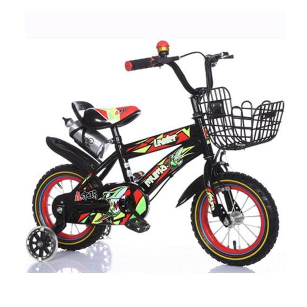 YANGFEI 子ども用自転車 フリースタイルキッズバイク、トレーニングホイール、12インチ、14インチ、16インチ、18インチ、ボーイのバイクとガールズバイク、子供のためのギフト 212歳 B07DWSYQL8 12 inch|Black+red Black+red 12 inch