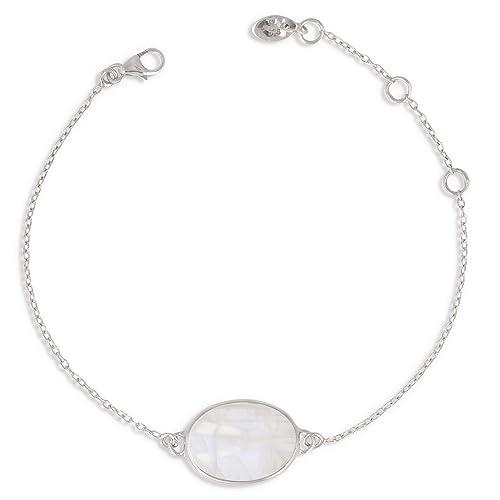 bracelet argent massif pierre de lune