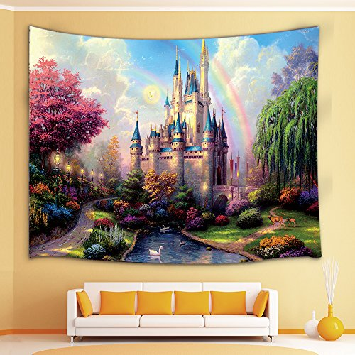 Fairy Tapestry (Teen Girls Collection Tapestry By JAWO the Fairy Tale Princess Castle in Fantasy Forest Landscape Artwork Print Wall Art Hanging for Bedroom Living Room Dorm 71X60Inches Wall Blankets)