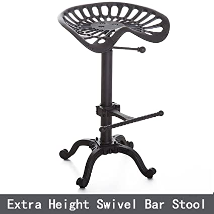 Bar Stools Furniture Industrial Bar Stool Kitchen Swivel Tractor Seat Adjust Height Diy Black Silver