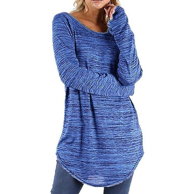 c33b9d9d9a9c Maglietta Donna Maniche Lungo Taglie Forti T-Shirt Tinta Unita Sciolto  Casual Eleganti Top Camicetta Autunno Invernali