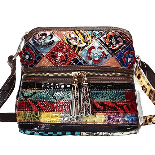 Snakeskin Print Tote - MCCKLE Women's Leather Multicolor Tote Crossbody Shoulder Bag (multicolour)
