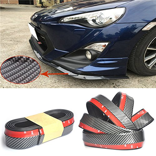 Universal PU Carbon Fiber Front Bumper Lip Splitter Chin Spoiler Body Trim (8ft) (Splitter Front Fiber Carbon)