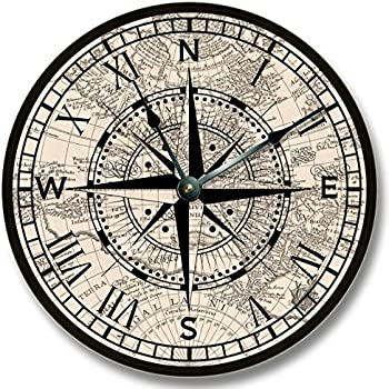 Compass rose with old map pattern wall clock for Whitehall tattoo supply