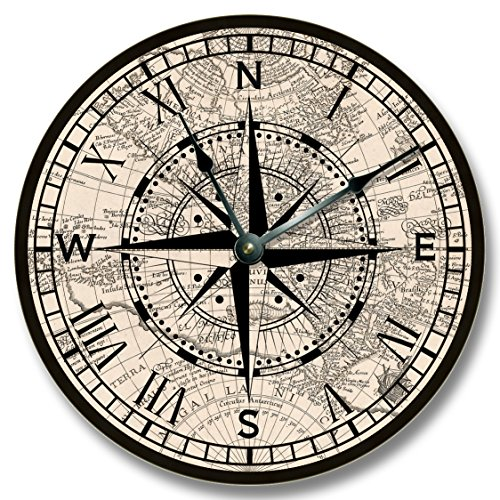 Compass Rose with old map pattern wall CLOCK - beachy and antique home decor - Compass Wall Clock