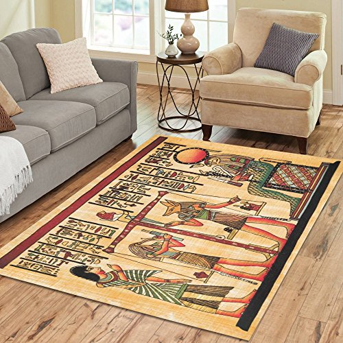InterestPrint Home Decoration Antique Egyptian Area Rug 7' x 5', Vintage Egypt Papyrus and Hieroglyph Carpet Rugs for Home Living Dining Room (Egyptian Decorations)