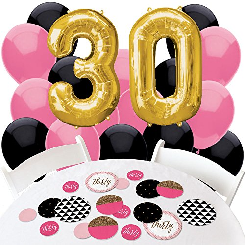 Chic 30th Birthday - Pink, Black and Gold - Confetti and Balloon Birthday Party Decorations - Combo Kit