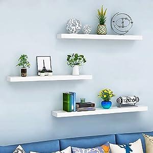 Set of 3 Floating Shelves White Floating Display Shelf Home Bedroom Decor Shelf