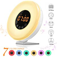 SOLMORE Wake Up Light Alarm Clock LED Bedside Lamp FM Radio Alarm Clocks with Touch Control Sunrise Simulation, Snooze Function, 6 Nature Sounds,7 Colors, 10 Brightness Night Light for Kids Bedroom