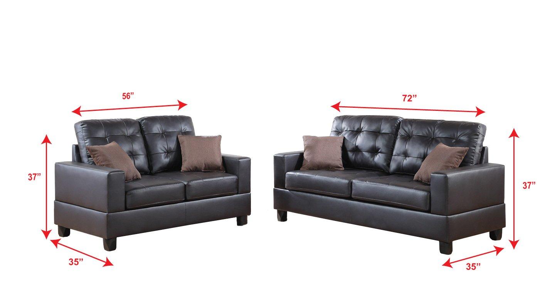 Amazon Com Poundex F7857 Bobkona Aria Faux Leather 2 Piece Sofa And