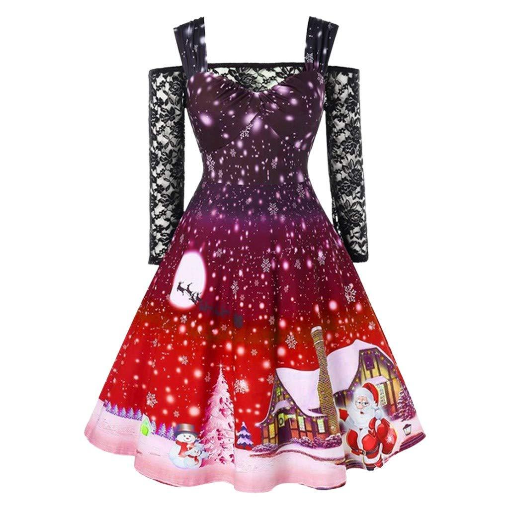 Vestiti di Natale Elegante Donna Abito Anni 50 Vintage per Party Spalla Fredda Cocktail Stampa Abito Cerimonia Camicia di Pizzo Carnevale Costume Taglie Forti