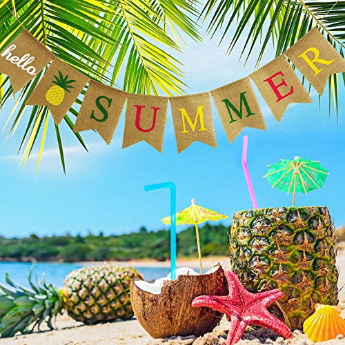 Hello Summer Burlap Banner Rustic Summer Banner with Flamingo Pattern Summer Garland Flag Decoration for Pool Party, Beach Party, Barbecue Party (Color Set 2) -